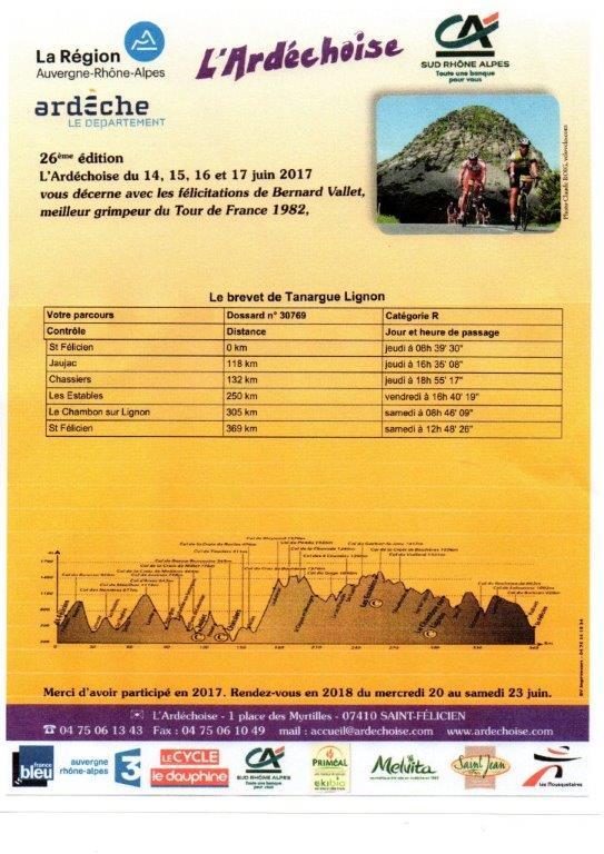 8-Ardéchoise  juin 2017 -programme 3 jours